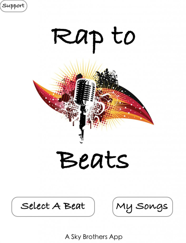 Rap To Beats has been Uploaded! This is the home screen.